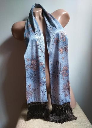 Шарф с бахромой. кашне. шарф в цветочек. грязно-синий, серо-голубой, коралловый, коричневый.