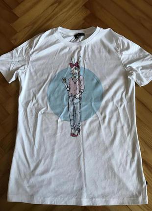Van laack-белая футболка с принтом! р.-34