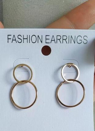 Серьги золото круглые сережки легкие геометрия проволка
