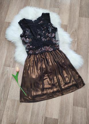 Шикарное женское нарядное платье сукня вечірня вечернее с кружевом пайетками