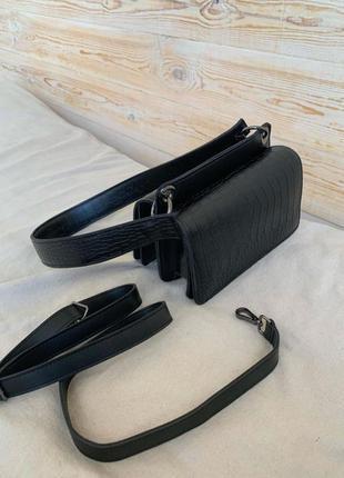 Женская сумка черный клатч черная сумка кросс боди на широком ремешке сумка через плечо