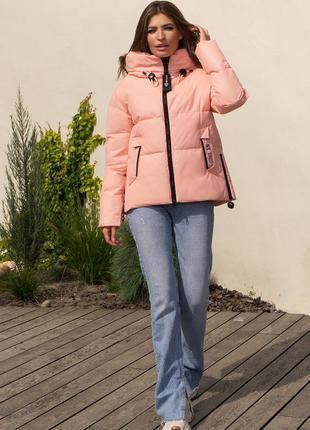 Короткая персиковая зимняя куртка