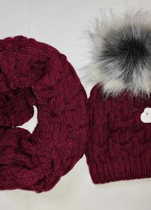 Шапка хомут теплый зимний набор бордо