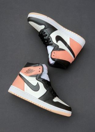 Женские розовые кроссовки nike jordan white pink найк джордан кожаные