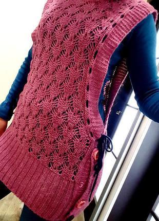 Необычное интересное сиреневая жилетка удлиненная вязаная свитер m  платье туника