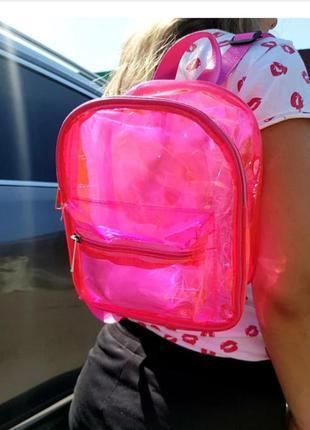 Яркий силиконовый прозрачный подростковый рюкзак на молнии в разных цветах luna