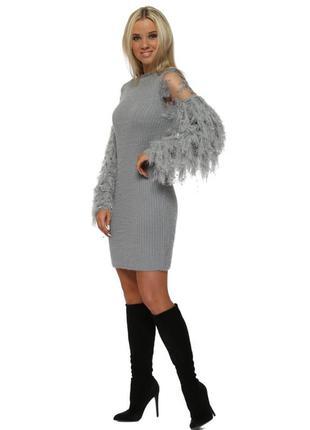 Роскошное серое пушистое вязаное платье-джемпер