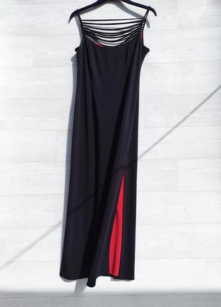 Шикарное элегантное длинное чёрное платье с разрезами ronald joyce