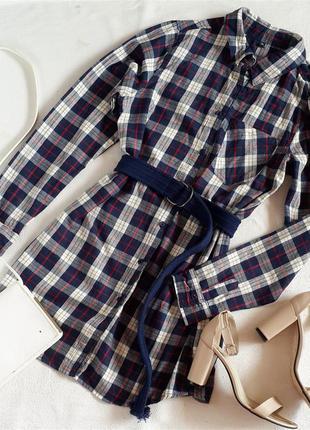 Платье рубашка в клетку 100% хлопок
