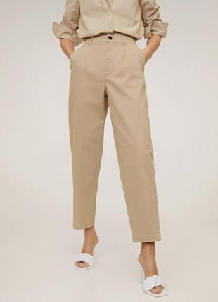Брюки женские корычневые бежевые светлые трендовые от mango, класические брюки.