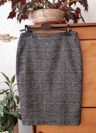 Твидовая юбка-карандаш в клетку