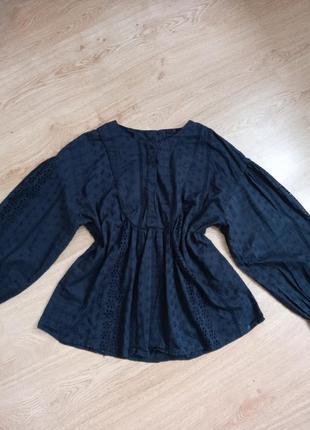 Шикарная хлопковая блуза с вышивкой ришелье