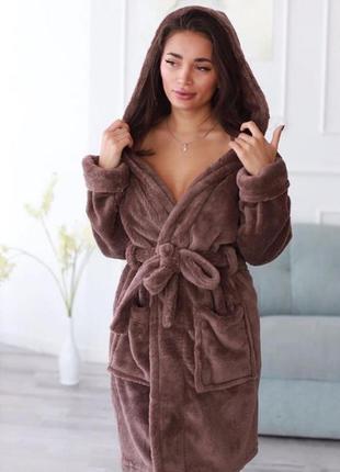 Шоколадный/коричневый тёплый махровый/плюшевый короткий  халат с капюшоном 42-50