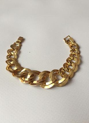 Винтажный браслет цепь золотистый американский винтаж
