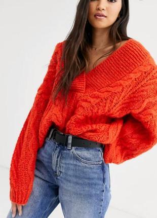 Коралловый свитер пуловер asos