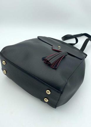 Рюкзак черный женский трансформер через плечо городской молодежная сумка рюкзак3 фото