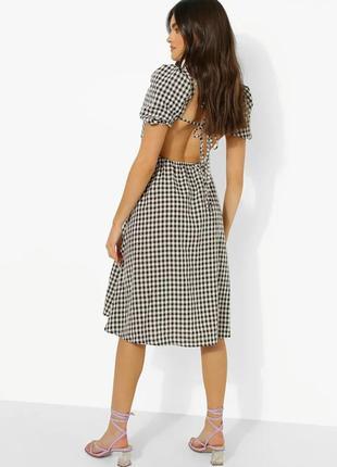 Новое платье миди вафельный принт, открытая спина рукава фонарики актуальное тренд