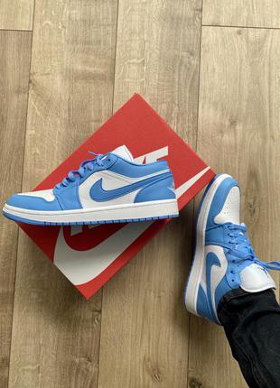 Синие кожаные кроссовки nike jordan осенние демисезонные найк джордан
