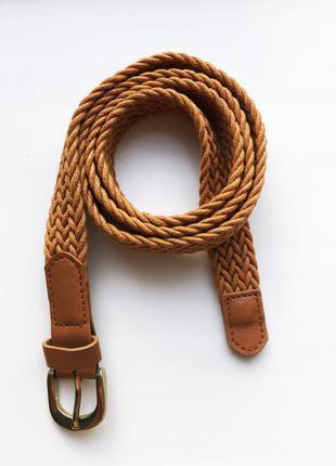 Стильный качественный текстильный ремень пояс косичка из шнура c&a