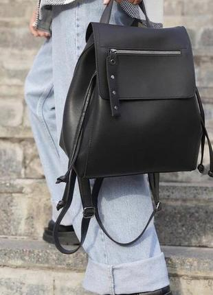 Чёрный женский вместительный рюкзак кожзам