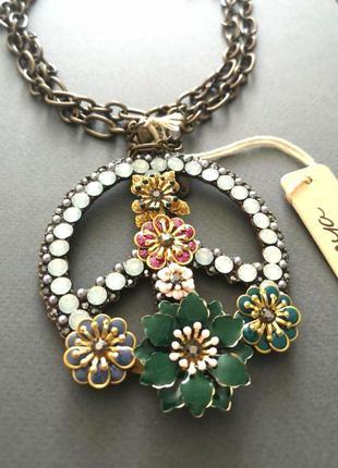 Красивая длинная цепь цепочка с большим массивным эмалированным кулоном  подвеской мир цветы peace эмаль бохо хиппи эмаль  mya италия