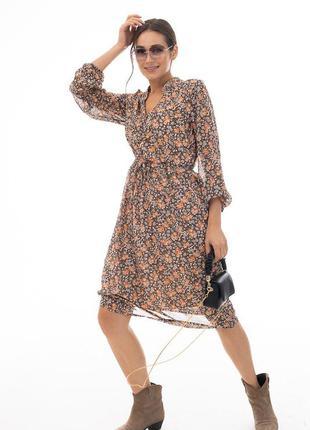 Шифоновое платье с завязками на талии коричневое в цветочек