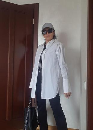 Удлиненная рубашка хлопок с манжетами