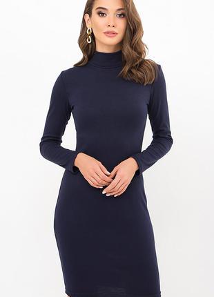Платье-гольф синее трикотажное. турция - плотный трикотаж - хорошего качества