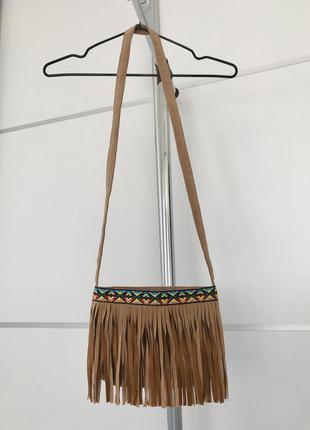 Сумка, сумка с бахромой, бежевая сумка, сумка с вышивкой.