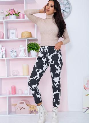 Оригинальные двухцветные женские джинсы с принтом демисезонные женские джинсы с высокой посадкой принтованные женские джинсы бойфренды