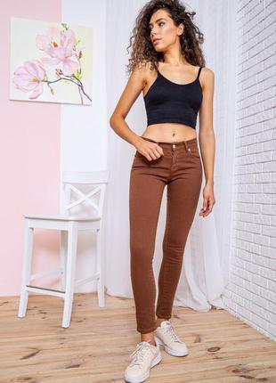 Актуальные демисезонные женские джинсы скинни джинсы-скинни коричневые женские джинсы зауженные женские джинсы однотонные женские джинсы на осень