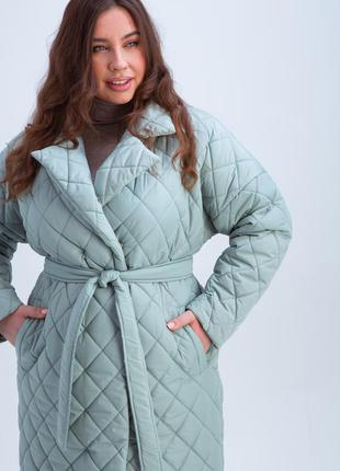 Стильное легкое теплое стеганное пальто - халат grand ua