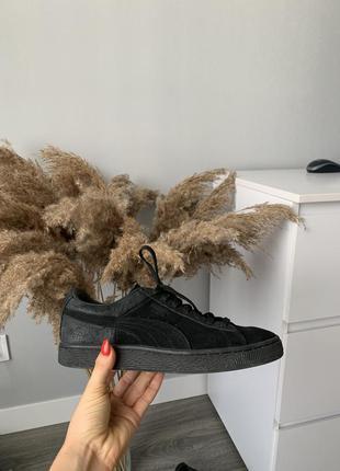Кеды/кроссовки puma suede оригинал черные натуральная замша 39 размер