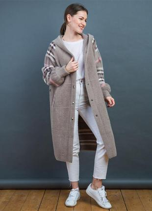 Пальто с капюшоном из альпаки🔥