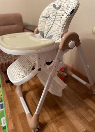 Стульчик для кормления, детский для годування, бамби, бежевый на колёсиках