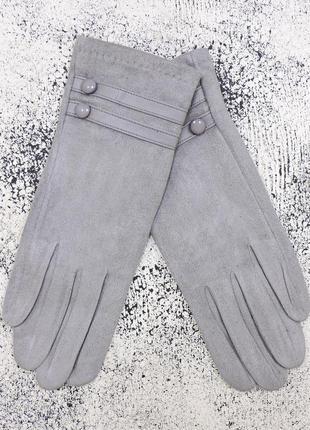 """Женские перчатки """"double-l"""" светло-серые"""