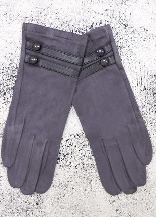"""Женские перчатки """"double-l"""" темно-серые"""