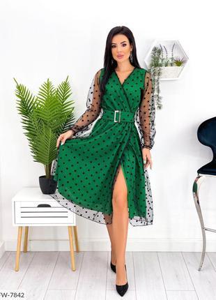 Зелёное нарядное платье
