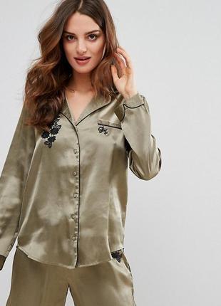Крута блуза сорочка river island рубашка хаки, атласная, шелк, в бельевом стиле!