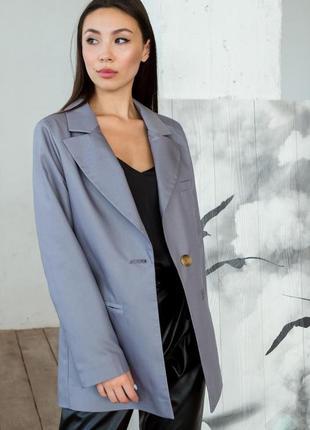 Пиджак женский классический однобортный, деловой, серый, 40, 42, 44, 46, 48, ххс, хс, с, л, хл