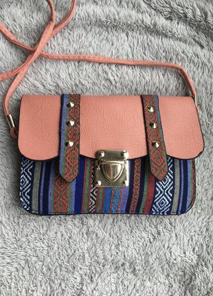 🍑 сумка маленькая сумочка через на плечо плече конверт листоноша в этно стиле разноцветная вышивка с шипами персиковая с длинной ручкой ремешком