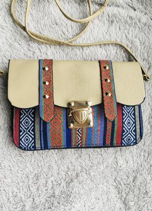 Сумка маленькая сумочка через на плечо плече конверт листоноша в этно стиле разноцветная вышивка с шипами с длинной ручкой ремешком