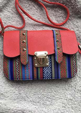 ❤️ сумка маленькая сумочка через на плечо плече конверт листоноша в этно стиле разноцветная вышивка с шипами с длинной ручкой ремешком красная