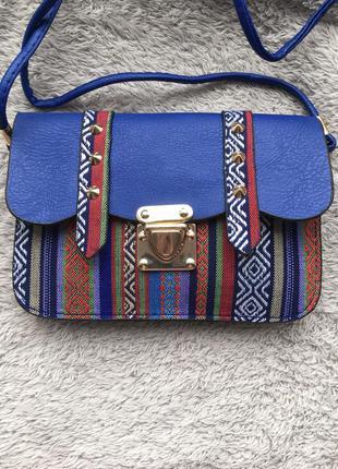 💙 сумка маленькая сумочка через на плечо плече конверт листоноша в этно стиле разноцветная вышивка с шипами с длинной ручкой ремешком синяя