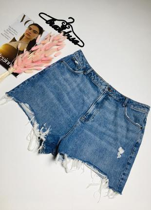 Крутые рваные джинсовые шорты мом из натурального плотного денима new look 1+1=3 🎁