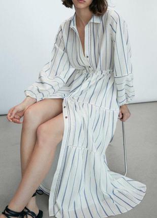 Длинное белое платье в полоску massimo dutti