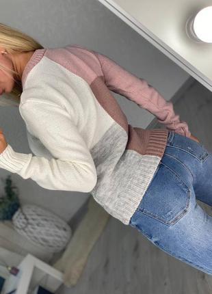 Свитер вязаный трикотажный тёплый свитер