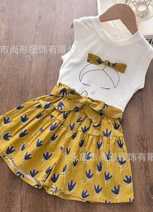 Летний костюм для девочки girls желтый . футболка и шорты