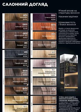 Стойкая крем-краска для волос «шелковое окрашивание» salon care