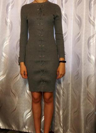 Платье теплое (тонкая вязка)